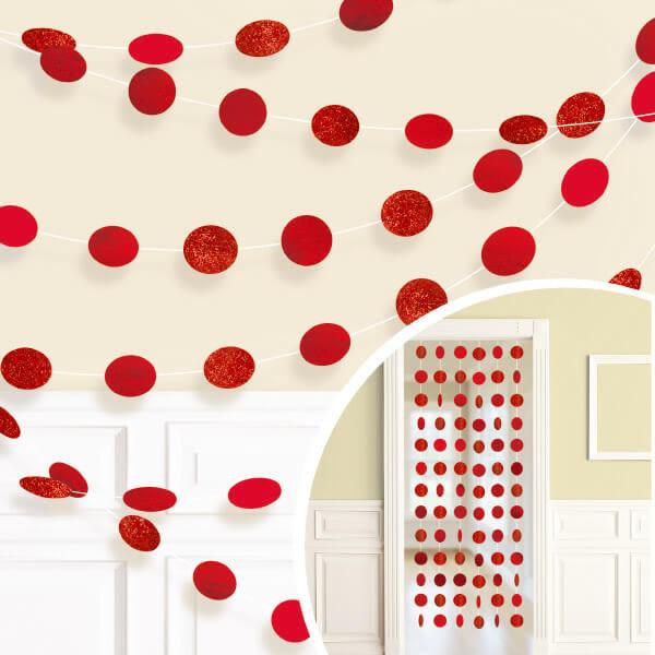 裝飾串門簾6入-蘋果紅