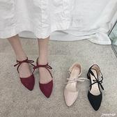 高跟涼鞋女仙女風新款夏季ins潮尖頭粗跟綁帶網紅晚晚羅馬鞋 聖誕節全館免運