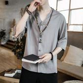 唐裝襯衫男士短袖夏季中國風亞麻t恤棉麻寬鬆復古大碼半截袖上衣 蘑菇街小屋