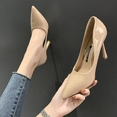 高跟鞋 超高跟鞋女細跟新款職業百搭網紅鞋子潮法式少女性感尖頭漆皮單鞋【快速出貨八折下殺】