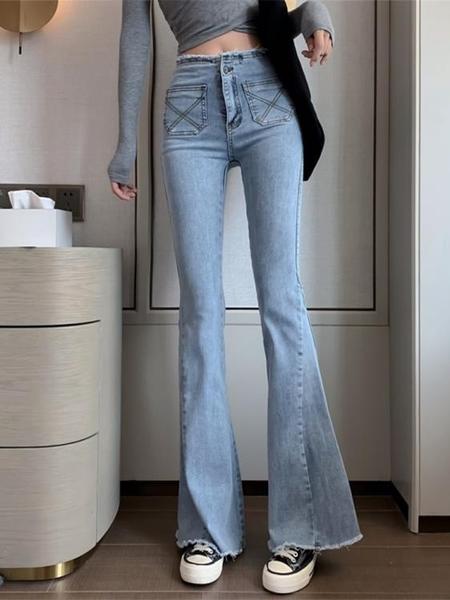 喇叭褲 淺色復古高腰牛仔褲女2021春夏新款直筒寬鬆微喇叭褲子顯瘦長褲潮 伊蒂斯