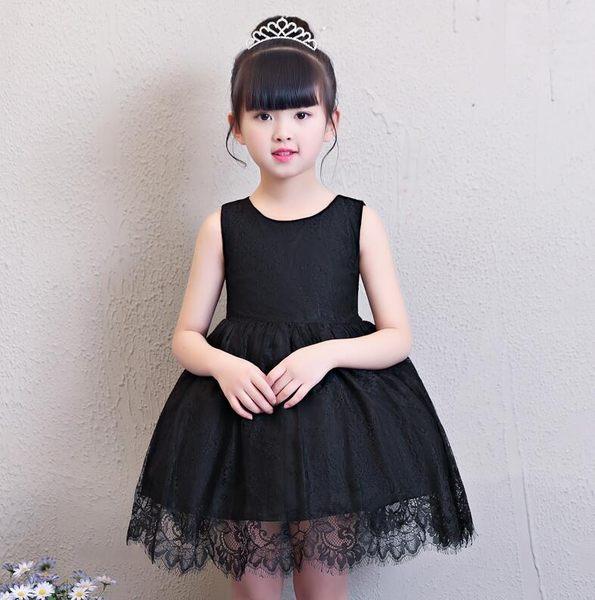 童裝夏裝2018新款韓版女童連衣裙子無袖蕾絲黑色背心裙兒童公主裙