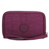 Kipling經典BasicPlus尼龍EssaBp萬用拉鍊短夾皮夾錢包(紫紅色)460820-73