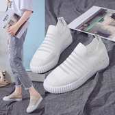 單鞋女春夏新款韓版網面透氣飛織襪子鞋一腳蹬懶人平底休閒板鞋潮 魔法鞋櫃