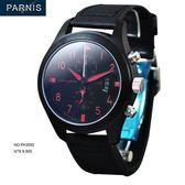 【完全計時】手錶館│PARNIS 軍錶風格 三眼計時飛行款 日期格窗PA3093 魔力紅 男錶新品 現貨