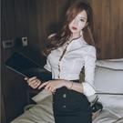 歐媛韓版 早春新款女裝長袖職業OL通勤氣質翻領名媛修身顯瘦白韓國襯衫