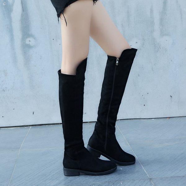過漆靴 長靴女平底 加絨刷毛刷毛長筒靴子正韓過膝靴高筒彈力靴單靴 88折下殺