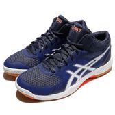 【六折特賣】Asics 排球鞋 Gel-Task MT 藍 白 膠底 橘 中筒 男鞋 運動鞋 【PUMP306】 TVR7174901