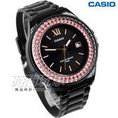 CASIO卡西歐 LX-500H-1E 潛鑽女王 LX-500H-1EVDF 簡潔時尚風指針 耀眼錶圈水鑽 黑X金框 女錶