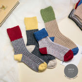 現貨✶正韓直送【K0271】韓國襪子 拚色羊毛中筒襪 韓妞必備 百搭款 素色襪 免運 阿華有事嗎