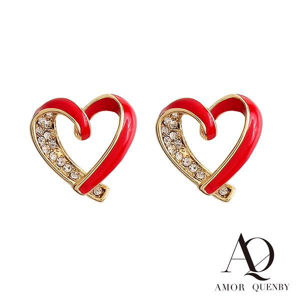 AQ 925純銀 奢華經典紅愛心帶鑽耳環/耳針(AMOR Quenby)