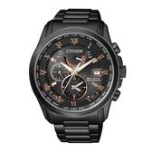 CITIZEN 紳士典雅光動能電波時計腕錶/黑鋼/AT9085-53E