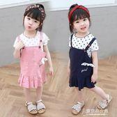 童裝女童套裝兒童裙子夏新品1-6歲寶寶背帶裙圓點洋氣套裝【東京衣秀】