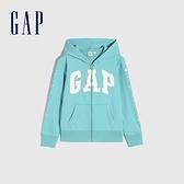 Gap女童 碳素軟磨系列 Logo法式圈織棉質連帽外套 810931-淡藍色