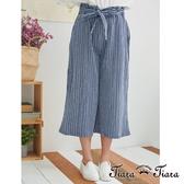 【Tiara Tiara】高腰綁帶式直條紋寬版7分褲(藍/卡其)
