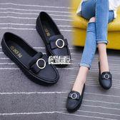 單鞋女平底淺口百搭豆豆鞋鞋軟底防滑黑色工作鞋