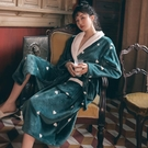 情侶珊瑚絨睡袍女士秋冬季法蘭絨浴袍加絨加厚中長款男士浴衣睡衣