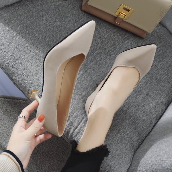5CM貓跟細跟單鞋女裸色春秋新款 漆皮淺口時尚高跟鞋 職業尖頭鞋
