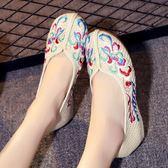 春夏款老北京布鞋女鞋民族風單鞋亞麻內增高坡跟繡花鞋透氣休閒鞋
