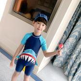 兒童泳衣男童連體分體中大童小童寶寶長短袖防曬男孩鯊魚可愛泳衣
