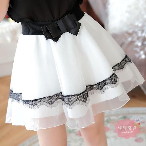 半身裙 白色蕾絲紗裙半身裙女春夏季褲裙鬆緊腰蓬蓬裙高腰網紗打底裙短裙【快速出貨】