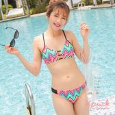i PINK 艷夏熱情 泰國製集中線條美胸二件式比基尼泳衣(黑)