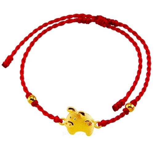 甜蜜約定金飾-好運12生肖-豬-紅繩黃金手鍊
