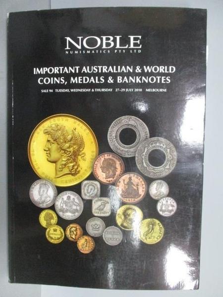 【書寶二手書T9/收藏_EJ1】Noble Numismatics PTY LTD_Important Australi