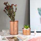 【Meric Garden】創意北歐ins風鐵罐/盆栽收納罐(有蓋)玫瑰金-中