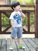男童夏裝新款套裝小童夏天寶寶短袖兩件套洋氣潮兒童夏季童裝花間公主