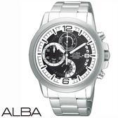ALBA 黑白三眼計時碼表鋼帶男錶 44mm AS6061X VD50-X010D 藍寶石水晶鏡面 | 名人鐘錶高雄門市