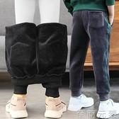 男童褲子秋冬裝運動褲加絨新款潮洋氣中大兒童金絲一體絨長褲 雙十二全館免運