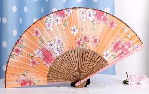 日式真絲櫻花 工藝和風絹扇10