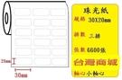 (小軸心) 珠光貼紙 (三排) (30X20mm) 適用:TSC TTP-244/TTP-345/TTP-247/T4e