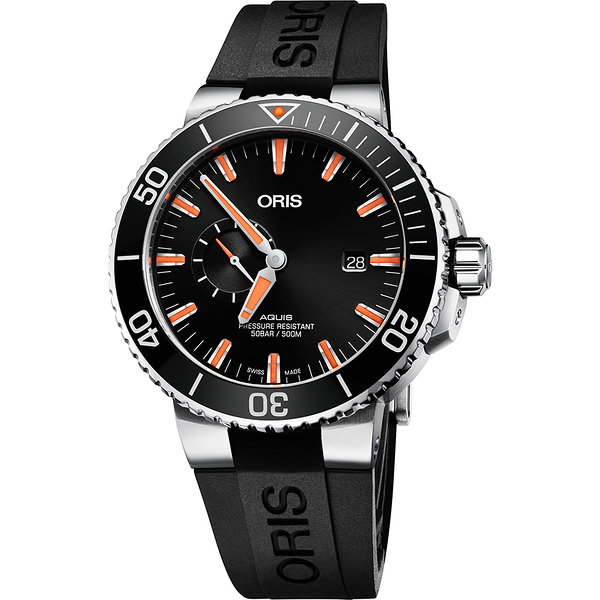 Oris豪利時 Aquis 小秒針500米專業潛水機械錶-黑/45.5mm 0174377334159-0742464EB