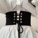 腰封 洋裝配飾 韓版彈力佈鬆緊束腰綁帶腰封女寬百搭裝飾簡約復古洋裝腰帶黑色