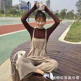 春秋韓版學院風仿鹿皮絨背帶褲寬鬆闊腿褲休閒褲長褲顯瘦女 長袖T糖糖日系森女屋