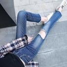 破洞牛仔褲女2019春季新款韓版顯瘦淺色直筒寬松九分褲微喇褲學生