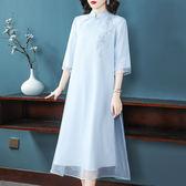 (現貨+預購 RN-girls)--精品中國風斜襟素雅短袖長洋裝