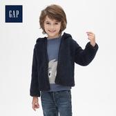 Gap男幼童舒適人造羊毛絨立領拉鏈外套473807-海軍藍