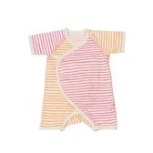 【出清】日本 stample 條紋綿布肚衣/上衣 (粉橘)