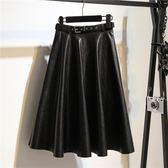 秋冬新款高腰PU皮裙黑色中長款半身裙a字大擺蓬蓬裙傘裙百搭—聖誕交換禮物