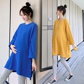 孕婦洋氣時尚款T恤長袖新款上衣網紅大碼衛衣春裝2021春秋款 童趣屋
