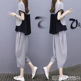 運動裝 黑色休閒時尚運動套裝女夏裝歐洲站寬鬆顯瘦闊腿褲兩件套   瑪麗蘇