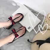 夾腳涼鞋 蝴蝶結涼鞋女夏平底學院風chic簡約T型夾趾涼鞋果凍鞋沙灘鞋