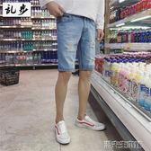 牛仔短褲 夏季原創潮牌學生牛仔短褲男士韓版潮流破洞五分褲子寬鬆  潮先生