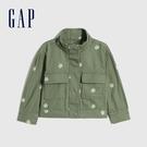 Gap女幼童 活力花卉刺繡半高領外套 599912-綠色