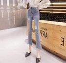破洞微喇牛仔褲女裝春夏2021新款八分小個子高腰顯瘦九分喇叭褲薄 果果輕時尚