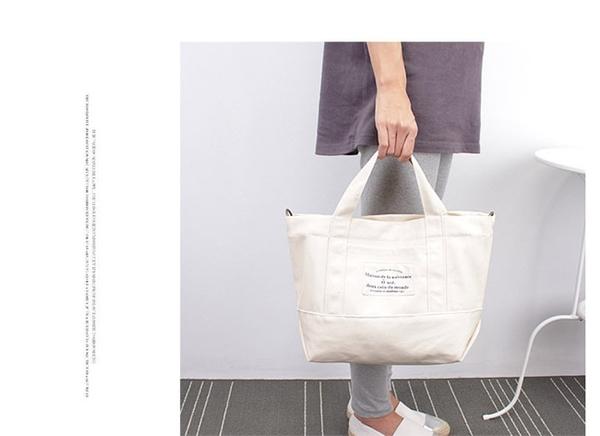 #斜背包#字母#拉鍊 手提包 帆布包 斜挎 環保購物袋-手提/單肩/斜背包【AL040】 icoca  09/20