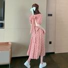 年法式復古碎花連身裙春夏季新款短袖收腰顯瘦中長款裙子女裝 韓美e站